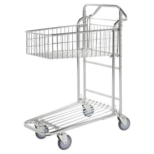 Kongamek Einkaufswagen mit 2 Böden und tiefem Gitterkorb 980x530x1210mm Gummibereifung verzinkt
