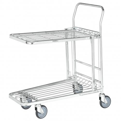 Kongamek Einkaufswagen mit 2 Böden klappbar Gummibereifung Ø125mm wahlweise mit Bremse