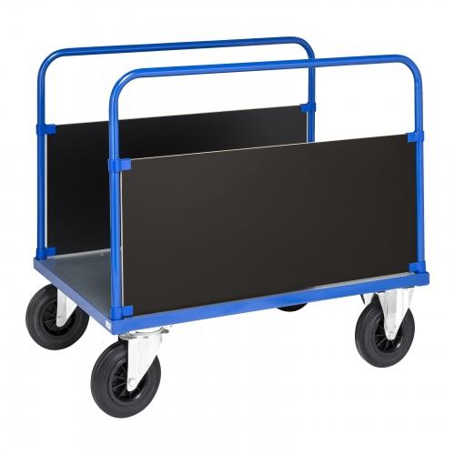 Kongamek Plattformwagen in blau 900mm hoch mit 2 stirnseitigen Wänden und verzinkter Ladefläche, wahlweise mit Bremse