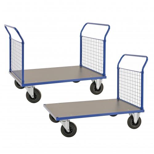 Kongamek Plattformwagen in blau 1020mm hoch mit MDF-Platte und 1-2 Schiebebügel, wahlweise mit Bremse