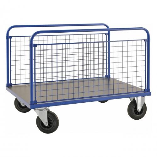 Kongamek Plattformwagen in blau 900mm hoch mit MDF-Platte und 2 stirnseitigen Gitterwänden, wahlweise mit Bremse