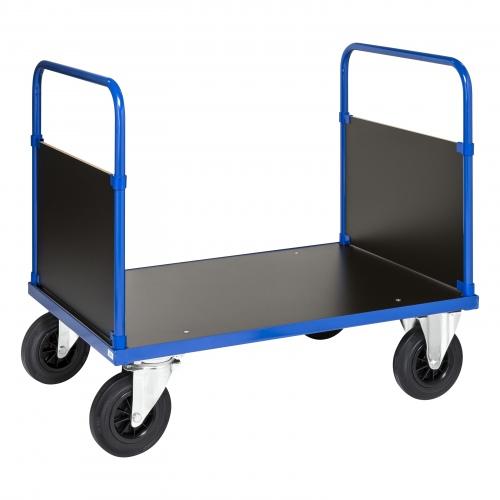 Kongamek Plattformwagen in blau 900mm hoch mit 2 Seitenwänden, wahlweise mit Bremse