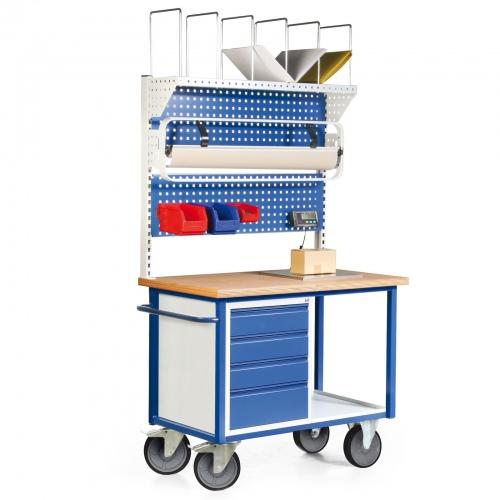 Protaurus Packstation mit 2 Lochplatten, Einbauschrank mit 4 Schubladen und Blechablage