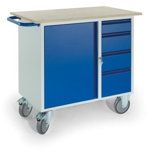 Rollcart Montagewagen mit 4 Schubladen und Stahlschrank