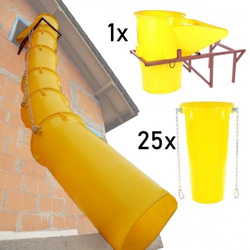 Schuttrutschen-Set gelb mit Trichter, Halterung und 25 Rohren bis 5,5mm Wandstärke 26m