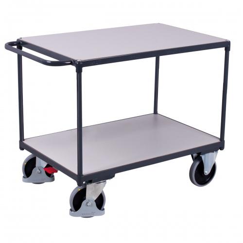 VARIOfit Schwerer ESD Tischwagen mit Schiebegriff und 2 Ladeflächen