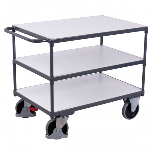 VARIOfit Schwerlast ESD Tischwagen mit Schiebegriff und 3 Ladeflächen