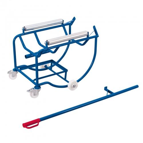 VARIOfit Fasskipper 250kg Traglast mit Hebelstange, Fassauflage mit 2 Stahlrollen