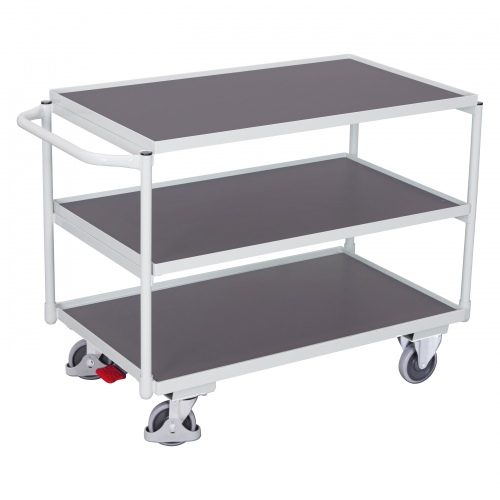VARIOfit Tischwagen mit Schiebegriff und 3 Ladeflächen 985x595mm Lichtgrau