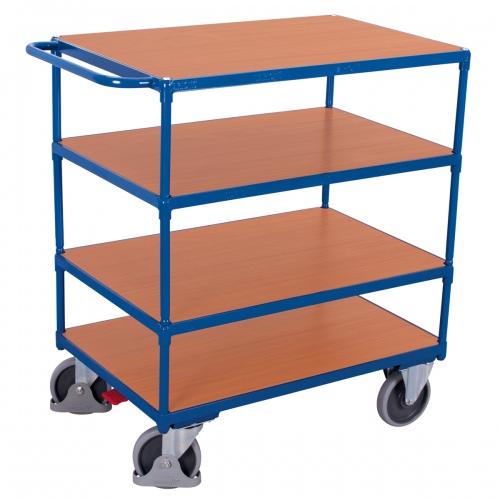 VARIOfit Schwerer Tischwagen mit Schiebegriff und 4 Ladeflächen