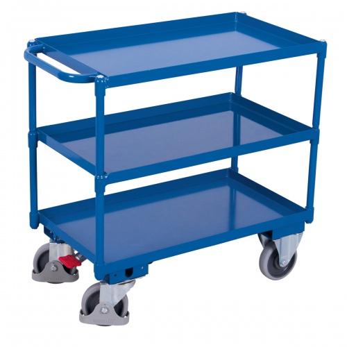 VARIOfit Tischwagen mit Wanne, Schiebegriff und 3 Ladeflächen