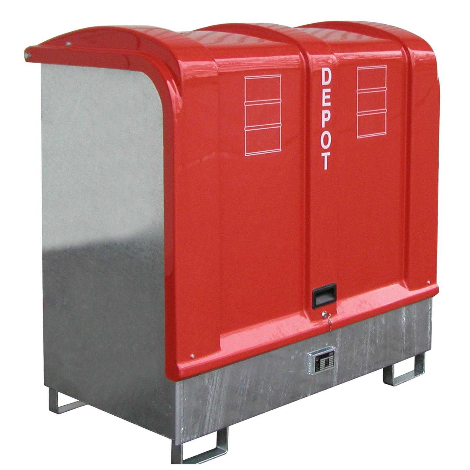Bauer Gefahrstoff-Depot GD-B, für Außenbereich mit Spritzschutzwand und GFK-Haube, feuerverzinkt 4416-02-0000-7
