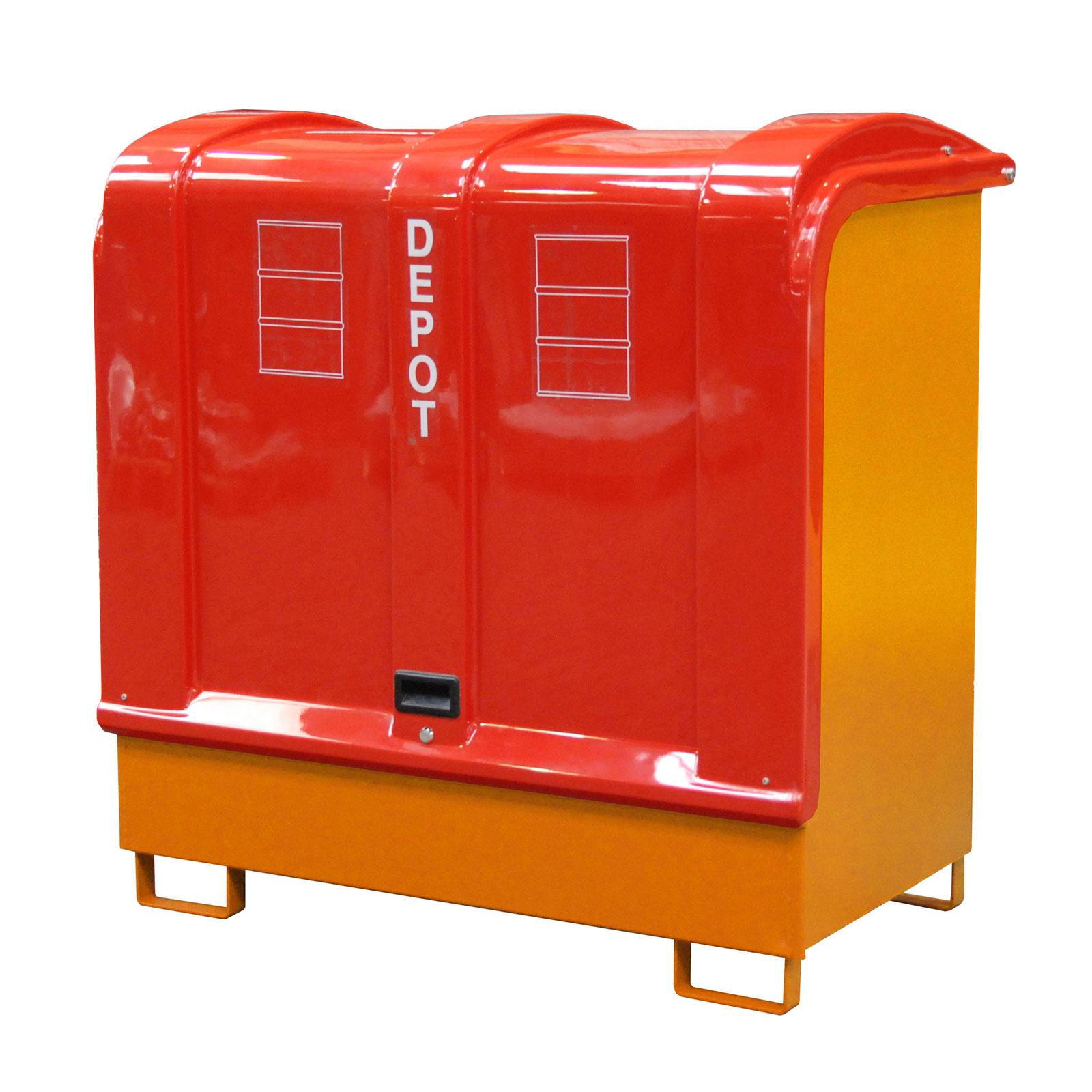 Bauer Gefahrstoff-Depot GD-B für Außenbereich mit Spritzschutzwand und GFK-Haube, Gelborange 4416-02-0000-1