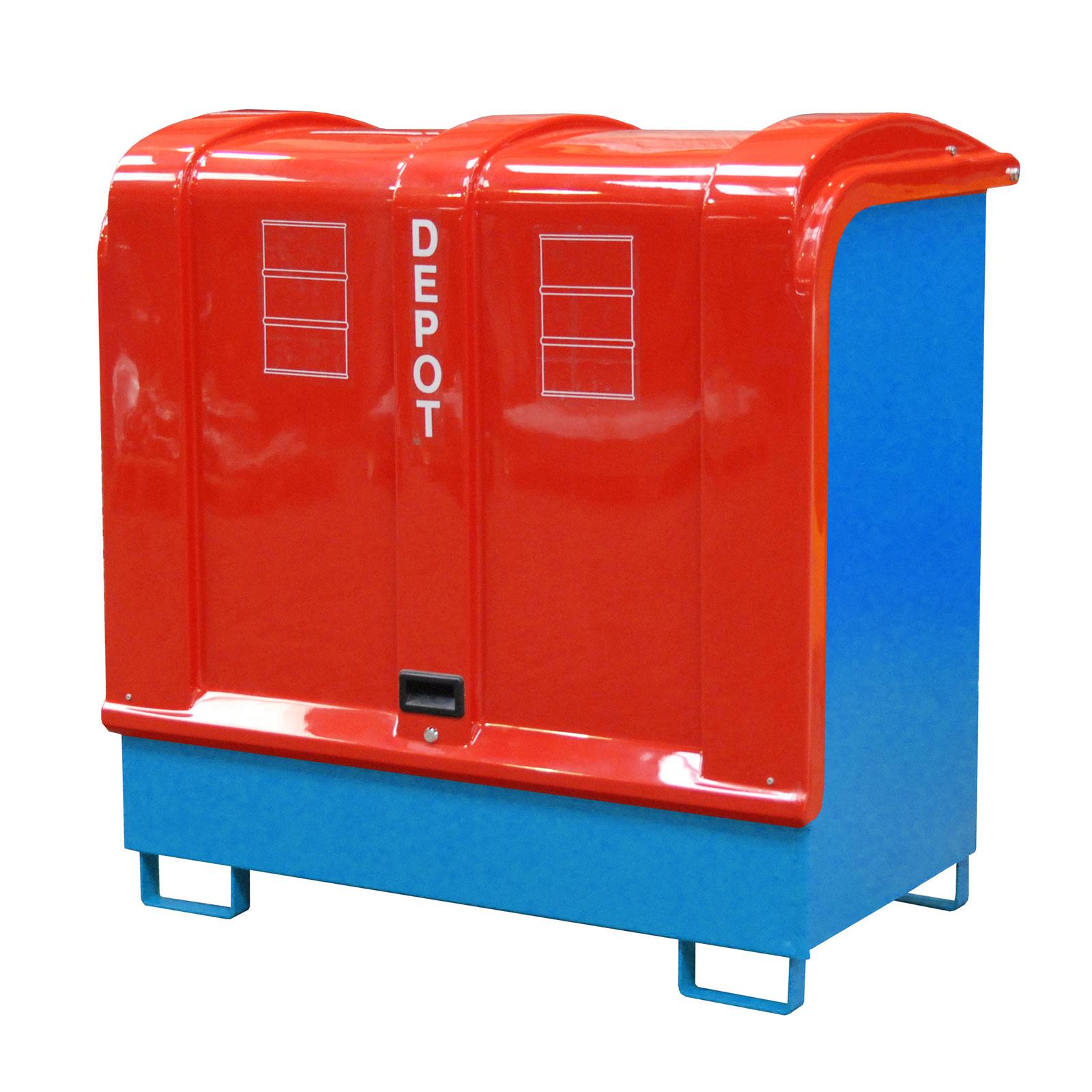 Bauer Gefahrstoff-Depot GD-B für Außenbereich mit Spritzschutzwand und GFK-Haube, Lichtblau 4416-02-0000-3