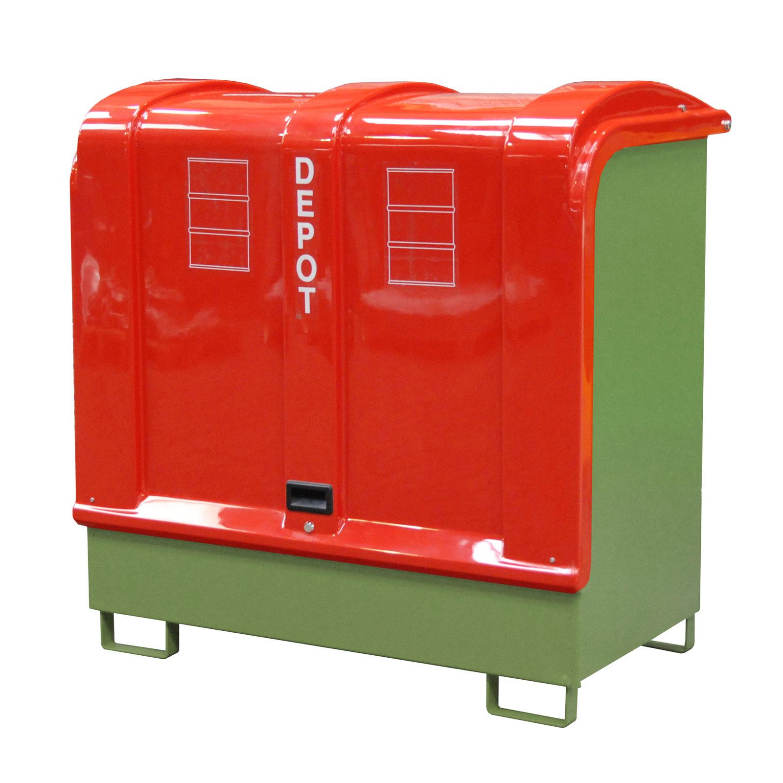Bauer Gefahrstoff-Depot GD-B für Außenbereich mit Spritzschutzwand und GFK-Haube, Resedagrün 4416-02-0000-4