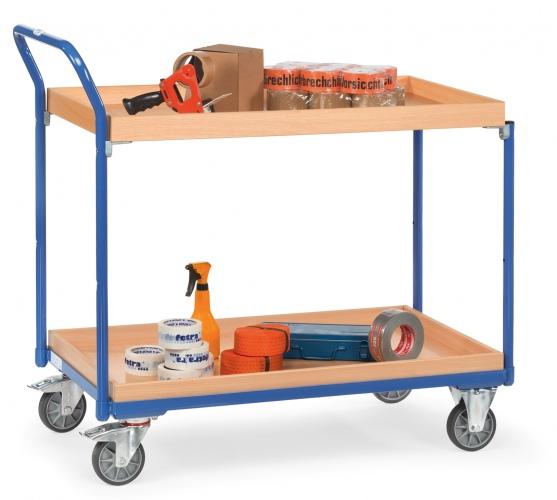 Fetra Tischwagen mit Holzwerkstoffplatten und 2 Kästen aus Holz