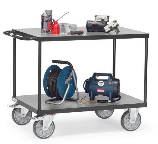 Fetra Tischwagen mit Holzwerkstoffplatten 2 Etagen 850x500mm Ladefläche Grey Edition