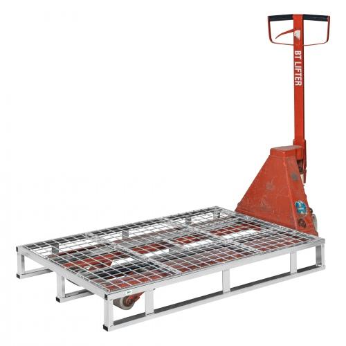 Kongamek Stahlpalette 1200x800x153mm mit Gitter und 1000kg Tragkraft