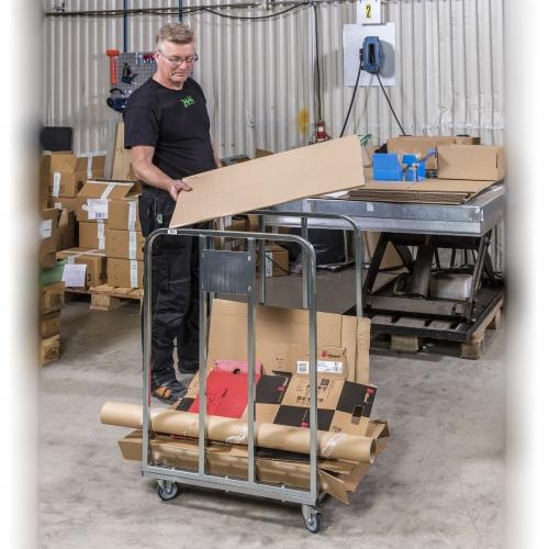 Kongamek Wellpappenwagen verzinkt/weiss 1000mm hoch mit Lenkrollen und Bremse