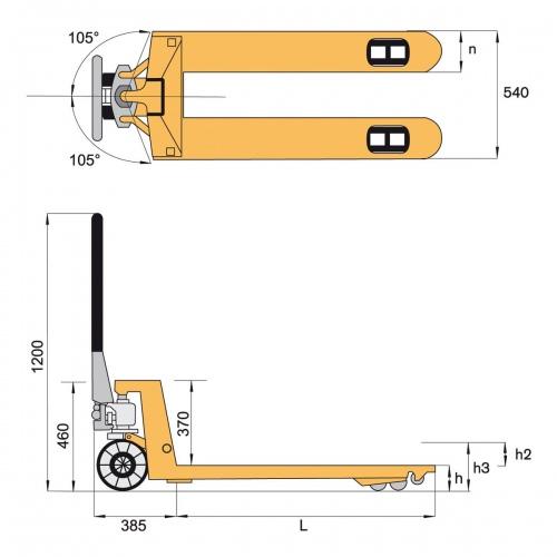 Protaurus Gabelhubwagen 2500kg Tragkraft Polyurethan mit Quicklift-Hydraulik