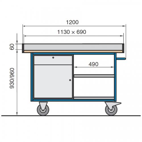 Protaurus Großer Werkbankwagen Basismodell A mit Arbeitsplatte Elastik
