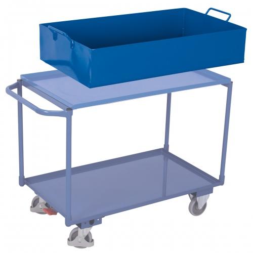VARIOfit Tischwagen mit abnehmbarer Wanne, Schiebegriff und 2 Ladeflächen 995x595mm