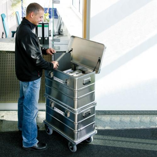 Günzburger Untersetzwagen für Aluminium-Transportkisten