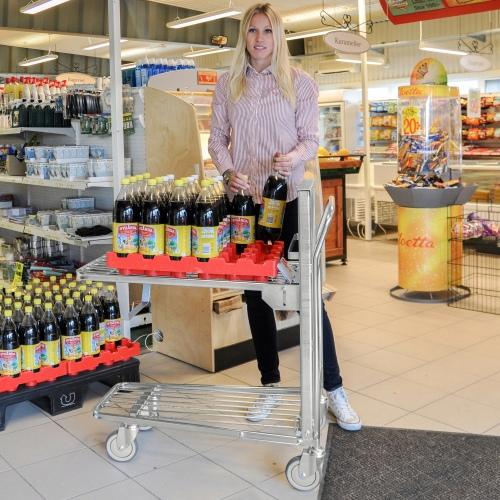 Kongamek Einkaufswagen mit 2 gefederten Böden Gummibereifung Ø125mm Schiebebügel offen wahlweise mit Bremse