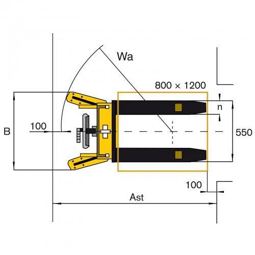 Protaurus Hydraulischer Hochhubwagen 1600mm Hubhöhe 500kg Tragkraft