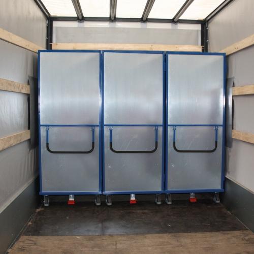 VARIOfit Etagenwagen aus Stahlblech mit Schiebebügel, Drehgriff und 5 Ladeflächen
