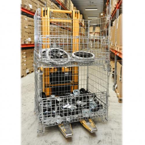 Kongamek Gitterbox verzinkt 1200x1000x1180mm vorne halb zu öffnen 1000kg Tragkraft